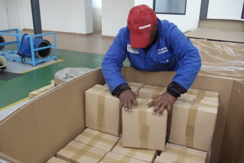 First shipment of parts being packed for export to Sweden